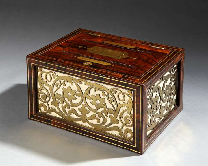 A REGENCY BRASS MOUNTED ROSEWOOD CORRESPONDENCE BOX